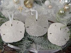 glitter sand dollar ornaments. so pretty! #LillyHoliday