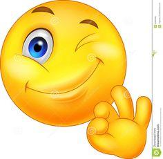 Emoticon sorridente con il segno giusto