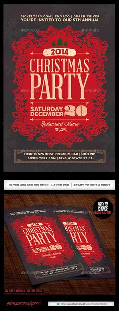 Christmas Party Flyer & Invitation — Photoshop PSD #Christmas Celebration…                                                                                                                                                                                 More