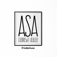Asa Printable Nursery Sign - Name Meaning Art - Baby Shower Gift - Kids Nursery Art - Digital Print - Nursery Decor - Minimalist Modern Art Baby Girl Names, Boy Names, Baby Boys, Nursery Signs, Nursery Decor, Nursery Art, Nursery Ideas, Boy Printable