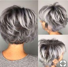 52 Ideas for hair color gray highlights pixie cuts Short Grey Hair color Cuts Gray Hair Highlights Ideas Pixie Remy Hair Wigs, Short Hair Wigs, Medium Hair Styles, Curly Hair Styles, Gray Hair Highlights, Lowlights For Gray Hair, Transition To Gray Hair, Mom Hairstyles, Short Gray Hairstyles