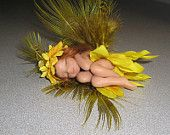"""""""THIS LITTLE FAIRY JUST SOLD""""    Angel Fairy hand sculpted Ooak miniature fairy made from scratch with a ball of flesh tone polymer clay !  Sunflower outfit. Her name is """"Sebille"""". www.etsy.com/shop/fantasiacreations"""