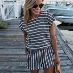 Short Sleeve Striped Losse Casual Summer Rompers Womens Jumpsuit Short – uotelab