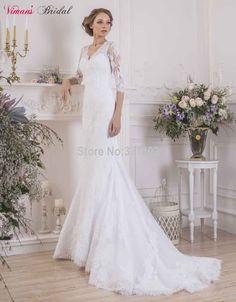 Lace Mermaid V-Neck Floor Length Three Quarter Sleeves Sheer Back Wedding Dress With A Sash Vestido De Noiva Made In China NA411