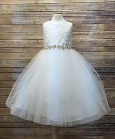 White Rhinestone A-Line Dress - Toddler & Girls