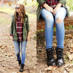 Must-have for fall: duck boots! This look is styled by Merrick White of Merrick's Art.