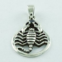 SCORPION DESIGN BLACK ONYX STONE PENDANT IN 925 SOLID STERLING SILVER  #SilvexImagesIndiaPvtLtd #Pendant