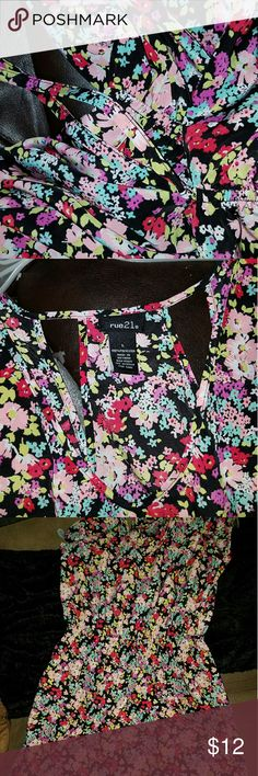 NWOT RUE 21 BEAUTIFUL FLORAL DRESS Beautiful open back drawstring waist floral dress SIZE L FROM rue 21 Rue 21 Dresses