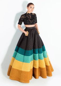 Product Description A two piece ensemble made in silk fabric skirt flowing with colorful waves, paired with a black embellished organza choli. Party Wear Indian Dresses, Indian Gowns Dresses, Indian Bridal Outfits, Dress Indian Style, Indian Fashion Dresses, Indian Designer Outfits, Pakistani Dresses, Stylish Dress Designs, Stylish Dresses