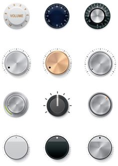 Set of the detailed control knobs in different colors knobs. dial it in.<br> Set of the detailed control knobs in different colors Interface Design, User Interface, Lock Image, Cookware Set, Circle Design, Grafik Design, Interactive Design, Free Vector Art, Design Reference