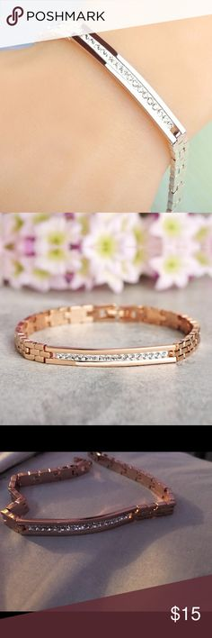 Copper Rose Gold Crystal Bracelet -Very trendy crystal bracelet -Double safety clasp -Copper -Nickel free, Lead Free Jewelry Bracelets