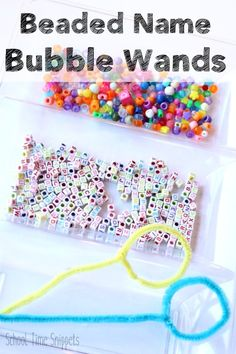 Beaded Name Pipe Cleaner Bubble Wands-- the perfect lazy day summer activity! Stem Activities, Summer Activities, Bubble Recipe, Name Crafts, Diy Pipe, Bubble Wands, Blowing Bubbles, Letter Beads, Letter Recognition