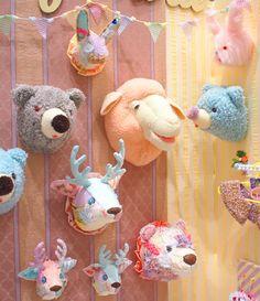 Animal Head Decor, Animal Heads, Playroom Decor, Nursery Wall Decor, Animal Nursery, Girl Nursery, Sewing Stuffed Animals, Faux Taxidermy, Kitsch