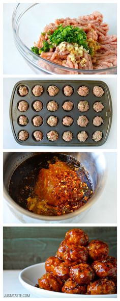 Baked Orange Chicken Meatballs #recipe from justataste.com
