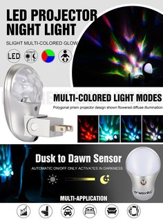 For K & Bee Plug in LED Projector Night Light Emotionlite with Dusk to Dawn Sensor Light Multi-Colored