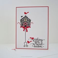 Sweet Season Greeting Card holiday card by EnchantedRoseByLinda Holiday Wishes, Holiday Cards, Christmas Cards, Bird Cards, White Envelopes, Card Sizes, Hand Stamped, My Etsy Shop, Greeting Cards