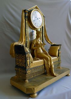 Antique French Empire mantel clock of Madame Recamier signed Vaillant 1805