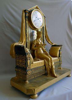 Antique French Empire mantel clock of Madame Recamier signed Vaillant 1805