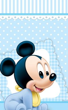 Festa Mickey Baby, Theme Mickey, Mickey Mouse Baby Shower, Mickey Party, Baby Mouse, Baby Disney Characters, Funny Cartoon Characters, Mickey 1st Birthdays, Mickey Mouse 1st Birthday
