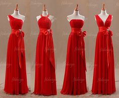 red bridesmaid dress long bridesmaid dress chiffon by fitdesign, $126.00