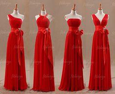 red bridesmaid dress long bridesmaid dress chiffon by fitdesign, $126.00