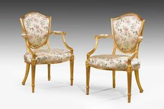 Pair of George III period gilt wood Elbow Chairs - Windsor House Antiques
