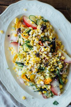 pickled corn succotash salad w/ heirloom beans + white nectarine