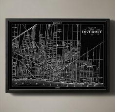 print poster detroit map