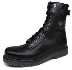 Mens Harley Davidson Adams Leather Blk Lace-Up Zip Motorcycle Boots $195 Size 7