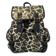 Plecak vintege retro ŻYRAFA wild SHOCK share&block we wzór żyrafy- animal print ze złotym połyskiem zwierzęcy deseń