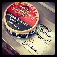 Copenhagen tobacco can cake. Totally wanna do this for hubbys birthday!