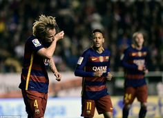Rakitic celebrates his goal, which set Barcelona on the way to yet another win in their incredible unbeaten run