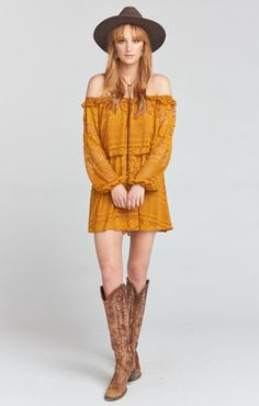 de792168d6 Show Me Your Mumu Moonlight Roses Lace Marigold Bess Dress Two tiered lace  mini Off the shoulder Elastic neckline and cuff Elastic empire waist Lined  Poly ...