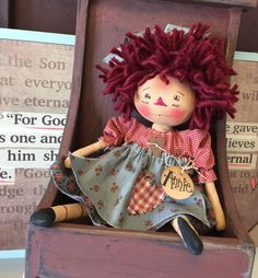 Primitive Raggedy Ann Folk Art Doll Annie Hang Tag Vintage Shelf Sitter Ornie #PrimitiveCountry #Artist
