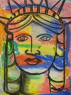 Miss Liberty with chalk pastels and charcoal - inspired by Peter Max