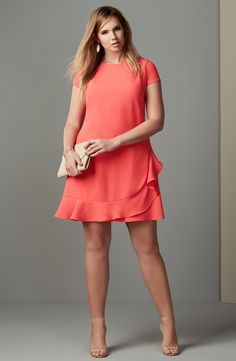 Free shipping and returns on Eliza J Ruffle Hem Crepe Shift Dress (Plus Size) at Nordstrom.com. A flirty ruffle wraps the hem of a cute crepe dress popped in a pretty coral color and capped with dainty sleeves.