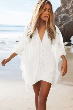 11092bc8d92d8 Shop White Oversize V-neck Poncho Beach Cover Up at victoriaswing
