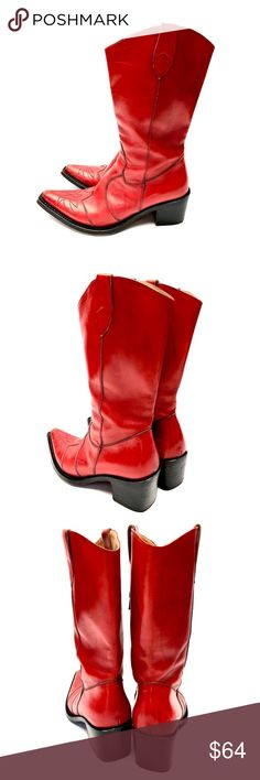 Women's Red Leather Boots By Gianni Barbato Reusable Style presents a wonderful pair of women's red leather western boots in good Reusable condition.  Please ask all questions prior to purchase.  Thanks   ReusableStyle Team Gianni Barbato Shoes Heeled Boots