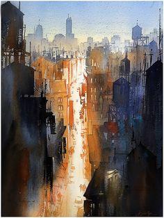 We Never Sleep - Watercolor by Tom Schaller