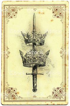 Espada e Crown ilustração de espada e crown e mais banco de imagens de antigo royalty-free Shield Drawing, Dagger Drawing, Queen Drawing, Crown Drawing, All Tattoos, Sleeve Tattoos, Body Art Tattoos, Mini Tattoos, Tatoos
