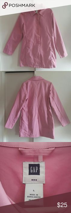 "GAP Women's  Pink Cotton  Jacket Very stylish jacket. Perfect for the chilly months.   In ""LIKE NEW"" condition!!  *Size Large *100% cotton  *Stadium length  *2 pockets  *4 buttons *Slit on lower back *Cute polka dots on inside pockets GAP Jackets & Coats"