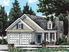 Cottage House Plan with 1546 Square Feet and 2 Bedrooms from Dream Home Source   House Plan Code DHSW38732