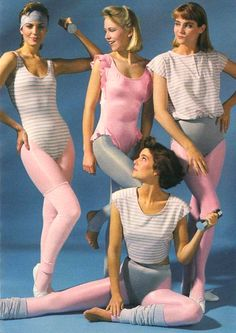 yep, we really did dress like this for aerobics class. Tights, leotard, and those panty-thingies you wore over the tights