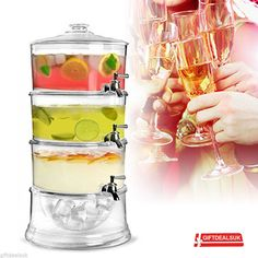 £27 3TIER 12LTR BEVERAGE DRINK JUICE ACRYLIC DISPENSER WITH ICE STORAGE CHAMBER BASE | eBay