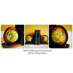 Pin Now & Shop Later. Old World Rotating Globe Bookends, A Handsome Matching Set for Home or Office Decor @ Felix Vintage Market.
