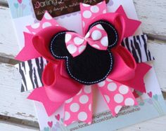 Miss Mouse Bow - Bright Hot Pink and Zebra Miss Mouse Bow with optional headband - Darling Little Bow Shop Bow Light, Disney Headbands, Hair Scarf Styles, Pink Hair Bows, Bow Shop, Hair Bow Tutorial, Minnie Mouse Bow, Boutique Hair Bows, Making Hair Bows