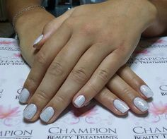 A dry manicure complete with CND Shellac 'Cream Puff' & 'Ice Vapor' nail polish.