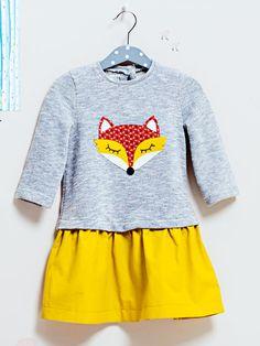 burda style - Schnittmuster für Kinder - Sieht aus wie Shirt über Rock, ist aber ein durchgehendes Kleid im Materialmix