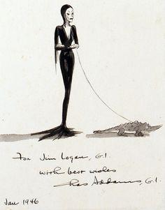 Morticia Addams, original cartoon illustration by Charles Addams, January 1946