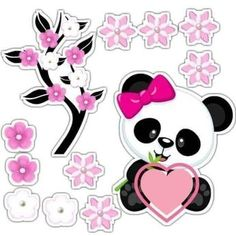 Lori R's media content and analytics Panda Themed Party, Panda Birthday Party, Panda Party, Minnie Mouse Cupcake Toppers, Minnie Mouse Pink, Pink Panda, Panda Bear, Cute Panda Drawing, Bolo Panda